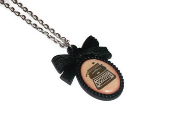 Typewriter Necklace, Black Cameo Cute Illustration