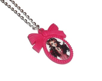 Aeris / Aerith Necklace, Hot Pink Cameo Necklace, Final Fantasy 7, Gaming