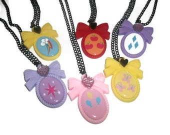 Cutie Mark Necklace, My Little Pony Friendship is Magic, Kawaii Pastel Cameo Necklace