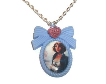 Elizabeth Bioshock Infinite Necklace, Kawaii Blue Cameo Necklace, Gaming