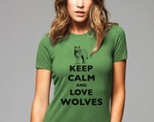 Keep Calm and Love Wolves T-Shirt - Soft Cotton T Shirts for Women, Men/Unisex, Kids