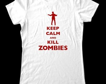 Keep Calm and Kill Zombies design 3 T-Shirt - Soft Cotton T Shirts for Women, Men/Unisex, Kids