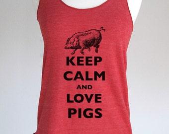 Keep Calm and Love Pigs Soft Tri-Blend Racerback Tank