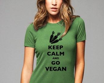 Keep Calm and Go Vegan T-Shirt - Soft Cotton T Shirts for Women, Men/Unisex, Kids