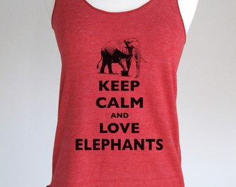 Keep Calm and Love Elephants Soft Tri-Blend Racerback Tank