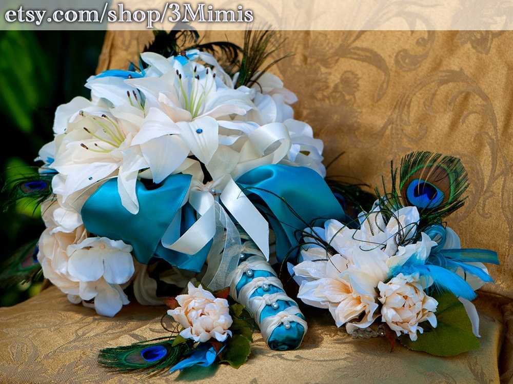 White Wedding Bouquets With Peacock Feathers : Tiger lily wedding bouquet peacock feather bridal by mimis