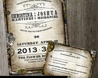 Steampunk Wedding Invitation & RSVP Card with multiple gears on distressed parchment paper faux background. Digital Printable