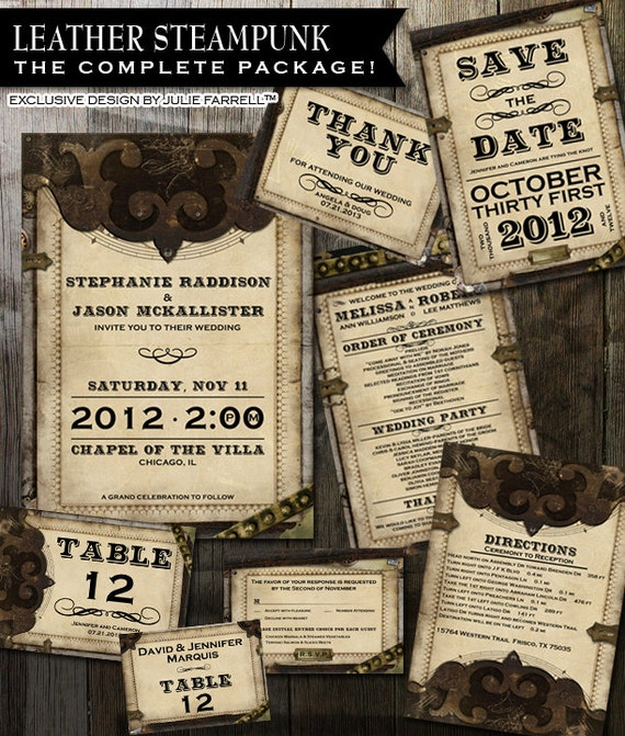 Steampunk Victorian Faux Leather Wedding Invitation Complete Package Gears and Parchment Paper Digital Printable Invite Rsvp and more