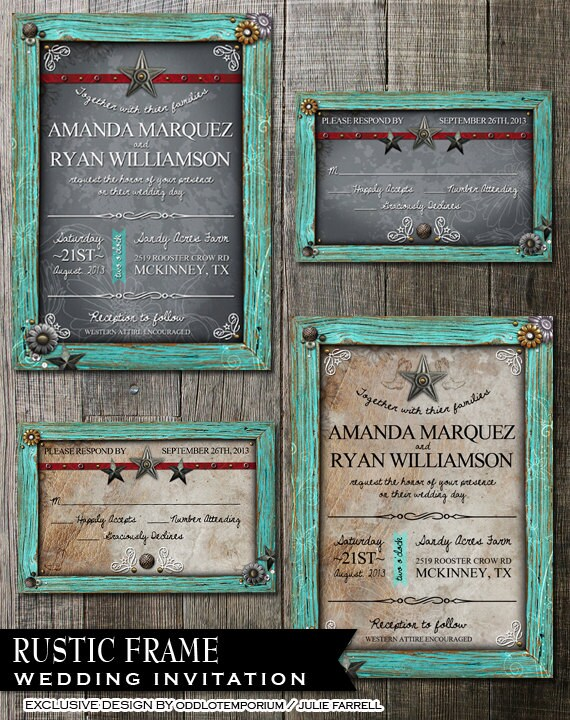 Rustic Frame Wedding Invitation - Digital Printables.2 background Choices - Rustic Turquoise Frame with metal flower embellishments.
