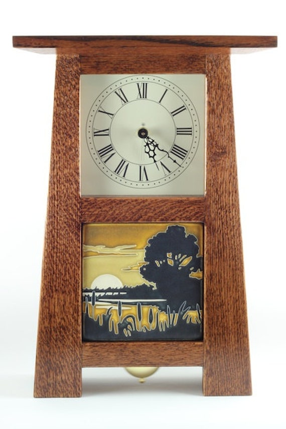 Items similar to Chiming Mission clock with Motawi tile ...