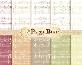 """Sheet Music 10 Piece Digital Scrapbooking Paper Pack, 8.5""""x11"""", 300 dpi PDF Shabby Chic INSTANT DOWNLOAD"""