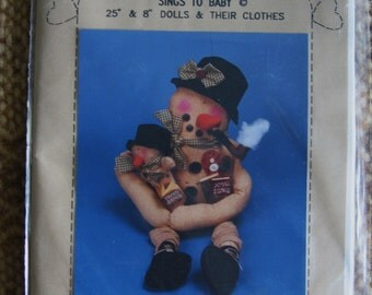 "Precious Snowman Sing to Baby Christmas Doll Pattern 25"" and 8"" Uncut UC FF Crafts Primitive"
