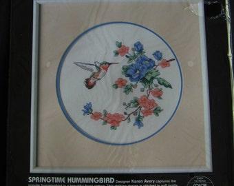 Vintage Dimensions  Cross Stitch Kit Springtime Hummingbird 1986 Vtg Sealed
