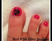 12 Nail Monogram/Initial Vinyl Decals for Toes or Nails
