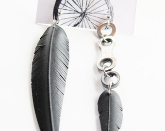 Mismatched Bicycle Part Feather Earrings - Recycled Jewelry - eco gift - handmade - bike - black