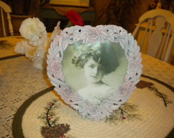 SALE.....Lovely Upcycled Heart Picture Frame,Victorian,Eclectic,Shabby Chic,French,French Country