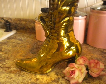 SALE......Brass Victorian Boot Planter, French, Eclectic, French Country