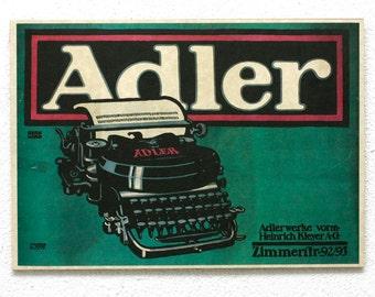 "Retro Wood Wall Art 8x12"" 20x30 cm, German Table, Adler Typewriter, Retro Advertising, Wall Hanger, Gift for Him, Art Noveau Room Decor"