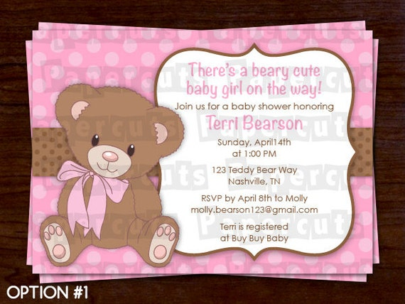 teddy bear theme baby shower party invitation pink & brown, Baby shower invitations