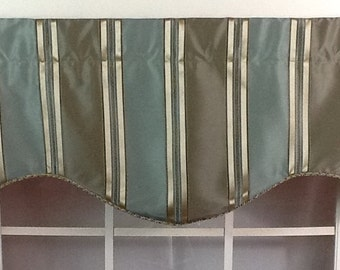 Faux silk stripe in sea foam, rust and brown with twisted cord