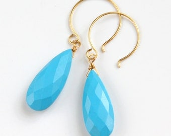 Faceted Turquoise Earrings, Gold Vermeil, Drop Earrings, Faceted Briolettes, December Birthstone