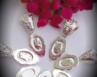 Silver Plated 25x8mm Filigree Glue On Bails