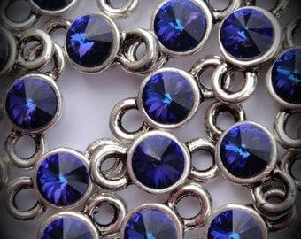 Heliotrope Genuine Silver Plated Rivoli Swarovski Crystal Connectors Link T600