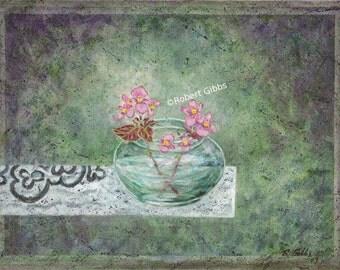 Zen Decor Zen Art Print Green Painting Pink Flowers Still Life Original Painting Meditation Art Wall Decor Fine Art Print