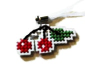 Red Cherries Cross Stitched Cell Phone Purse Charm