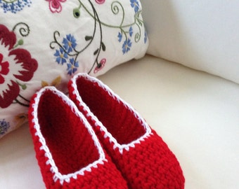 Extra thick , Simply slippers , Adult Crochet Slippers ,  house shoe , red shoe