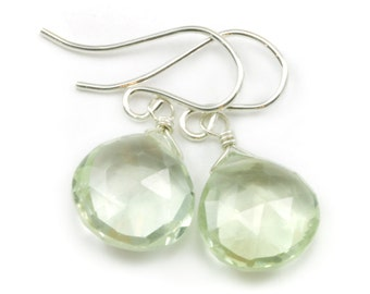Green Prasiolite Earrings Amethyst Faceted Heart Teardrop Sterling Silver or 14k Gold Filled Natural Soft Pale Green Simple Daily Wear Drops