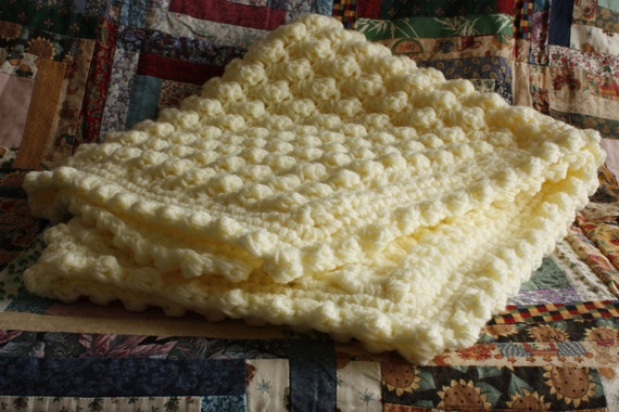 Vintage style handmade  supersoft crochet baby blanket/shawl.  Cream puff stitch. Ideal Christening / shower gift.  New baby gift.