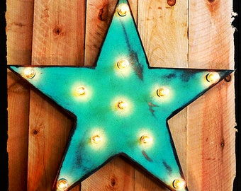 "24"" Star Vintage Marquee Lighted Wood…"