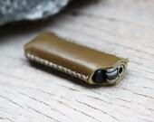 HIP/ olive/ banana leaf Green genuine cow Leather Lighter Case