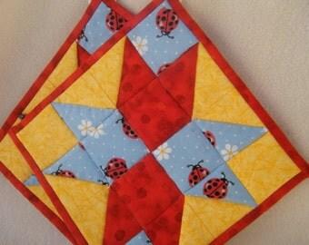 Red, Yellow & Blue Ladybug Potholders - Set of 2 - HANDMADE BY ME