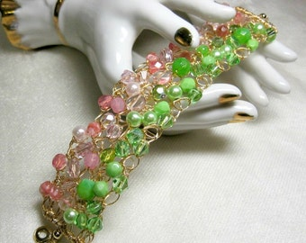 Crocheted Wire Beaded Bracelet in Pink and Green, handmade bead jewelry, wire crochet bracelet