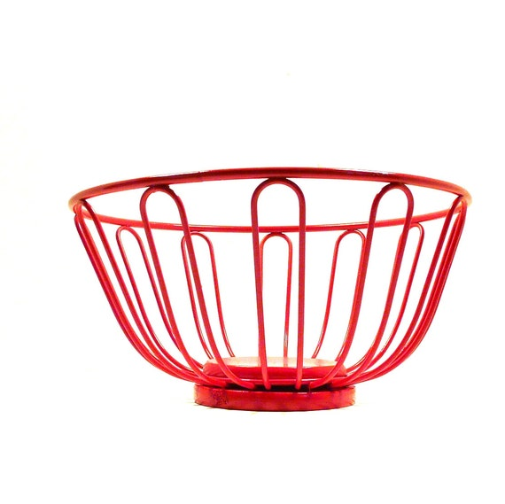 Red Wire Basket Retro Decor Kitchen Fruit Bowl Baskets By