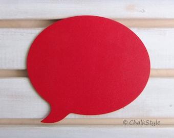 Red Chalkboard Speech Bubble -- Oval Chalk Board for Weddings or Engagement Photo Props Pregnancy Maternity Props Chalk Board