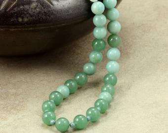 Aventurine and Amazonite Necklace, Blue Necklace, Green Necklace, Beaded Necklace, Handmade Necklace