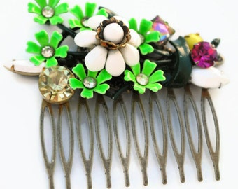 Lime Green Spring Floral Collage Hair Comb OOAK