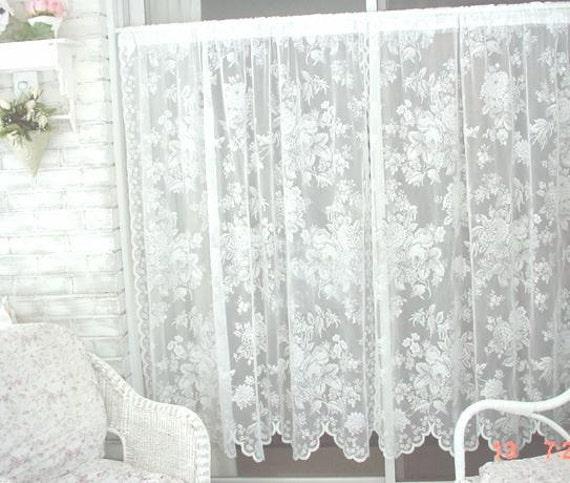 Vintage Lace Curtains Roses Cottage Farmhouse Prairie Chic