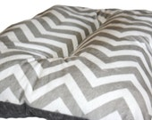 Dog Crate Mat Gray and White Chevron Minky Pet Bed XL