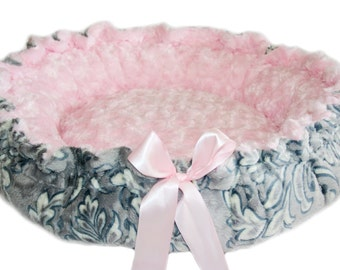 Pink and Gray Damask Minky Couture Pet Bed