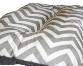 "Custom Size 14""x28""- Dog Crate Mat Gray and White Chevron Minky Pet Bed"