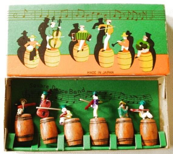 Vintage Square Dance Band Japan Miniature Wood Figures in