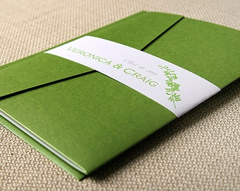 Veronica Pocket Wedding Invitation Suite- Green and White- Natural, Leaf