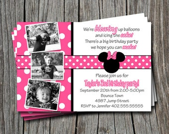 Custom Photo Pink Polka Dot Mickey & Minnie Mouse Inspired Birthday Party Invitation Card   - You Print