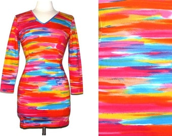 Vintage 90s ST. ELMO Colorful Watercolor-Printed Stretchy Cotton Body-Con Dress: Size M
