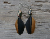 "3 1/2"" Orange and Black Feather and Hand Made Clay Bead Earrings"