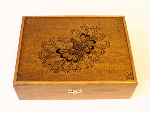 Henna Peacock Heirloom Tea Chest: Handcrafted, Handfinished, Woodburned, Fully customized for you